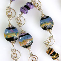 'DESERT PLAINS' - Sterling Silver Necklace with Hand Made Lampwork Beads