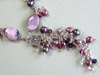 'VISION IN PURPLE' - Sterling Silver Necklace with Purple Agate, Pearls & Crystals