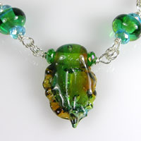 Sterling Silver and Lampwork Necklace - Green, Aqua, Topaz