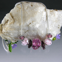 Pink and Amethyst Lampwork Glass Silver Necklace