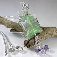 Silver Wire Wrapped Green & Purple Lampwork Bead Necklace