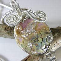 Silver Wire Wrapped Pink & Raku Lampwork Bead Necklace