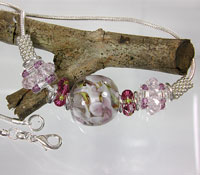 SILVER NECKLACE - Lampwork Focal Bead with Pink & Fuschia Crystal Beaded Beads