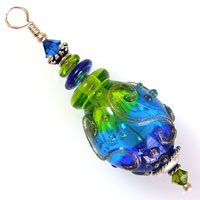 Sterling Silver Pendant with Aqua, Green & Blue Hollow Lampwork Bead