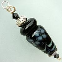 Sterling Silver Pendant - Black Lampwork Bead