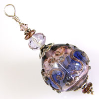 Sterling Silver Pendant with Antique Pink & Purple Lampwork Hollow Bead