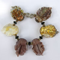 'FALLEN AUTUMN LEAVES'  Lampwork Glass Leaves Bead Set  CLEARANCE!!!!