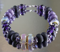'SHADES OF PURPLE'  LampworkSpacers Glass Bead Set