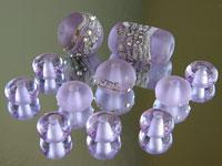 'LARKSPUR'  - Blue or Violet Colour Change Lampwork Glass Bead Set - Focals + Spacers