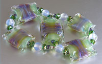 'VERDE VIOLA'  Green & Purple Lampwork Glass Bead Set + Crystals