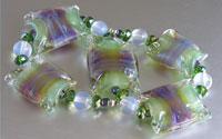 'VERDE VIOLA'  Green & Purple Lampwork Glass Bead Set + Crystals