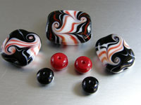 'RETRO DAYS'  - Red, Black & White Handmade Lampwork Glass Bead Set - Focal + Spacers