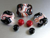 'RETRO DAYS'  - Red, Black & White Handmade Lampwork Glass Bead Set - Focal + Spacers