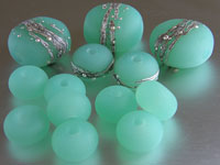'KRYPTONITE'  - Blue/Green Lampwork Glass Bead Set - Focals + Spacers