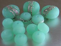 'KRYPTONITE'  - Blue/Green Lampwork Glass Bead Set - Focals + Spacers