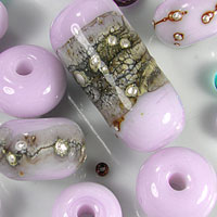 'HEFFALUMP'  - Light Violet Lampwork Glass Bead Set - Focals + Spacers