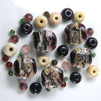 'INNER SOUL' - Black Currant & Opal Yellow Glass Lampwork Bead Set +Spacers