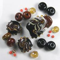 'EARTHENWARE'  Brown, Black & Ivory Lampwork Focal Glass Bead Set