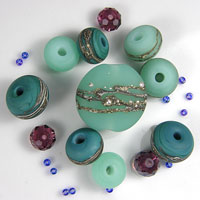 'FAIRY MOSS'  - Green Lampwork  Glass Bead Set - Focals + Spacers