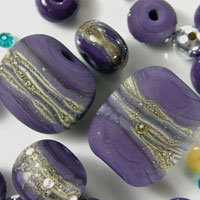 'LAPIS' - Purple Lampwork Glass Bead Set - Focals and Spacers