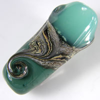 'ELPHINITE'  - Green Lampwork Glass Bead Set - Focals + Spacers