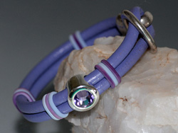 Lilac Two Strand Round Leather Bracelet with Swarovski Crystal