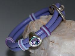 Lilac Two Strand Round Leather Bracelet with Swarovski Crystal