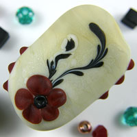 'CORAL FLORAL' - Cream & Black Lampwork Glass Focal Bead with Red Raised Flower + Spacers