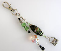 Handbag or Purse Charm      -           Black & Green