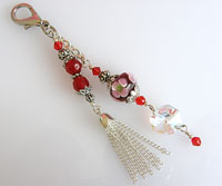 Handbag or Purse Charm  -  Red & Pink & Silver