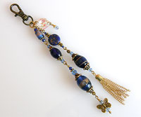 Handbag or Purse Charm  -  Navy Blue & Gold