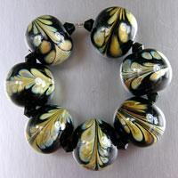 Black & Raku Lampwork Beads - Set of 7