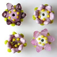 4 FLOWER CHARMS  Lampwork Glass Flower Charm Beads