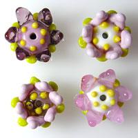 4 FLOWER CHARMS  Lampwork Glass Flower Charm Beads