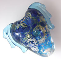 'ANGEL HEART' Lampwork Heart Focal Glass Bead