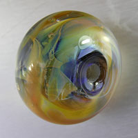 Purple and Silver Glasses Lampwork Focal Bead