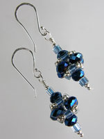 Metallic Blue Crystal Pagoda Earrings - Sterling Silver