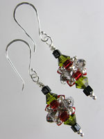 Olive Green, Silver & Red Crystal Pagoda Earrings - Sterling Silver