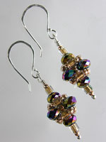 Pink Purple Blue & Green Multi Coloured Crystal Pagoda Earrings - Sterling Silver