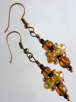 Topaz,  Amber & Copper Crystal Pagoda Earrings