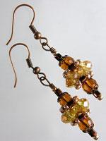 Topaz,  Amber & Copper Crystal Pagoda Earrings