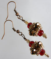 Red & Copper Crystal Pagoda Earrings