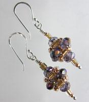 Amethyst Crystal Pagoda Earrings - Sterling Silver