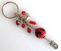 'PRINCESS'   Keyring with Red Lampwork Bead  CLEARANCE!!!