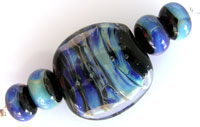 'BLUE SHIMMER' Lampwork Focal Glass Bead + Spacers