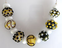 'A TOUCH OF FROST' Lampwork Bead Set + Spacers - CLEARANCE!!!