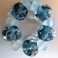 'INKY CRYSTALS'  - Dark Dusky Bluerystal Lampwork Glass Bead Set + Etched Spacers