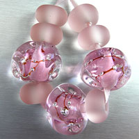 'BLUSHING CRYSTALS'  - Pink Crystal Lampwork Glass Bead Set + Etched Spacers