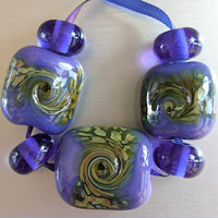 'LILAC PASSION' - Lilac & Raku Glass Lampwork Bead Set + Spacers