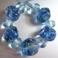 'DIVINE CRYSTALS'  - Blue/Green Crystal Lampwork Glass Bead Set + Spacers